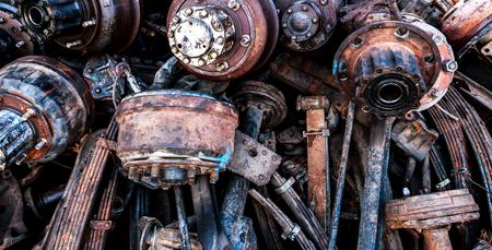 scrapyard: Rust wheel parts , The rust car parts in junkyard.