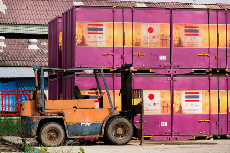 Bangkok, Thailand- October 18, 2016 : The cargo container weight for transport by train.