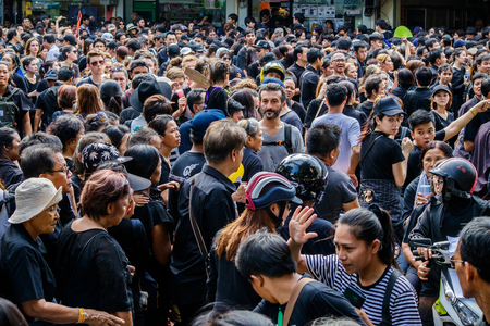 adulyadej: Bangkok, Thailand - October 22, 2016 : Crowd of Thai people  and foreigner in funeral of of His Majesty King Bhumibol Adulyadej.