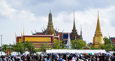 adulyadej: Bangkok, Thailand - October 22, 2016 : Thai people  and foreigner crowd in funeral of of His Majesty King Bhumibol Adulyadej. Editorial