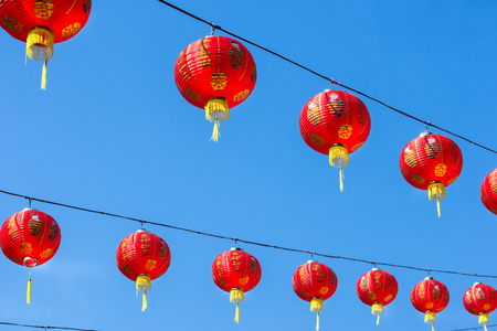 Chinese lantern that belief if hang it at house or joss house will be get good luck in good time such as new year festival. Stok Fotoğraf
