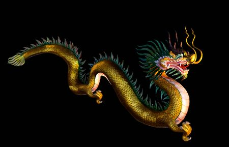 The Golden Chinese Dragon,Chinese dragons are a symbol of China's culture,and bring good luck,great power, dignity, fertility, wisdom and auspiciousness in Chinese new year. Standard-Bild