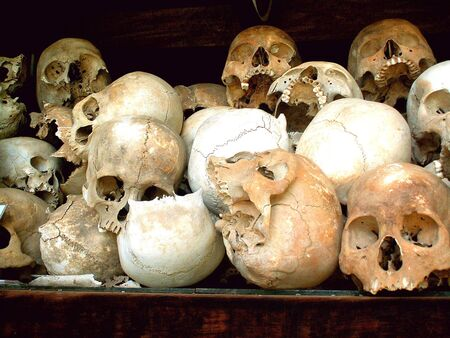 regime: Skulls of the victims of Khmer Rouge regime, Killing Fields, Cambodia