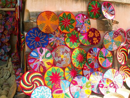 Colorful straw plates sold in Ethiopia Stock Photo - 4931436