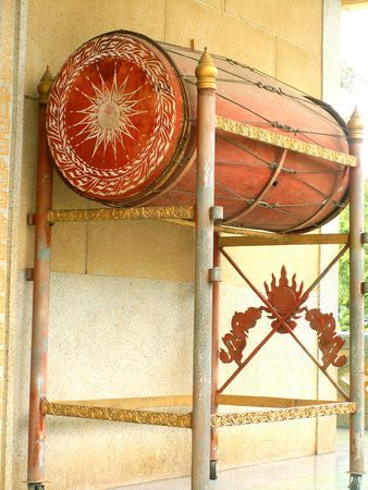 ceremonial: Ceremonial drum in buddhist temple, Thailand Stock Photo