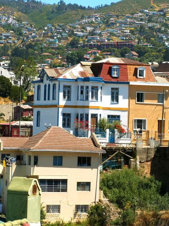 colourful houses: Coloridas casas en Valpara�so, Chile