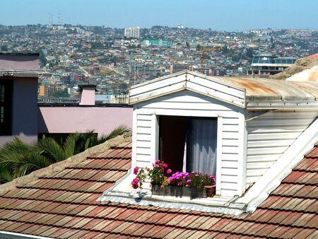 valparaiso: Roof window of the house in Valparaiso, Chile Stock Photo