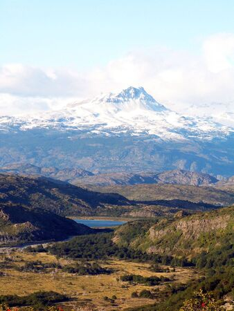 capped: Snow capped mountain in Torres del Paine National Park, Chile Stock Photo