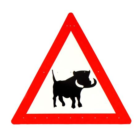be careful: Be careful - warthogs (road sign in Namibia)