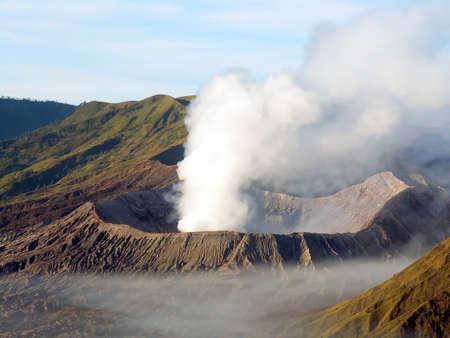 tengger: Fuming volcano Bromo in Tengger Caldera, Java, Indonesia