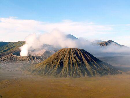 tengger: Volcanos Semeru, Batok and Bromo in Tengger Caldera, Java, Indonesia Stock Photo