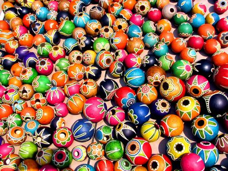 gourds: Colorful painted gourds sold at the street market in Maputo, Mozambique Stock Photo
