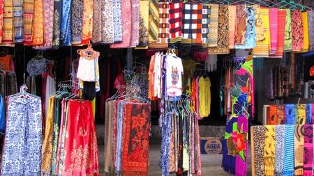 Colorful sarongs sold in Pura Besakih, Bali photo