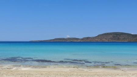 Turquoise warm sea around the Greek island Elaphonisos Stock Photo