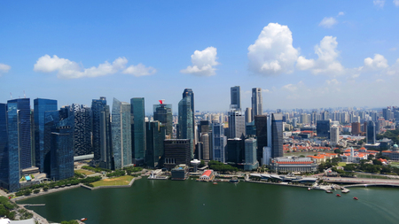 Panorama of the downtown Singapore from the roof of the Marina Bay hotel