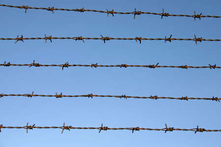 gaol: Barbed wire with blue sky on the background
