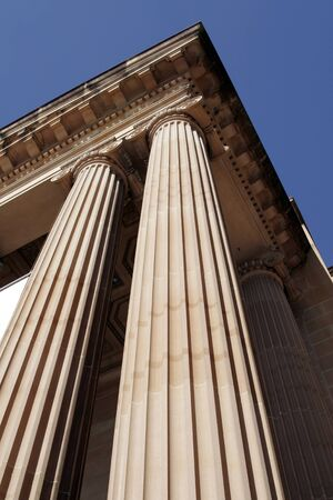Steep View Of Classical Columns, Pillar, Architecture, Building, Roof Stock Photo - 1463575