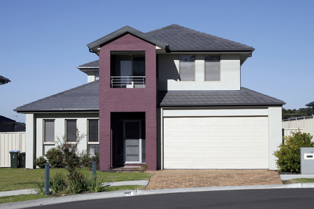 row of houses: Modern Town House In A Sydney Suburb On A Summer Day, Australia Stock Photo