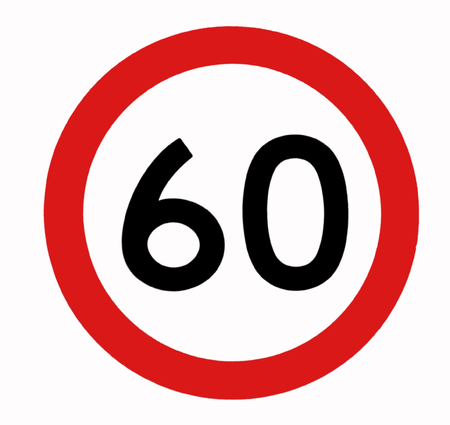 regulate: Speed Limit, 60, Traffic Sign Stock Photo