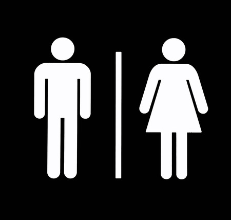 bathroom sign: Uni Bathroom  Restroom Symbol, White On Black, Background