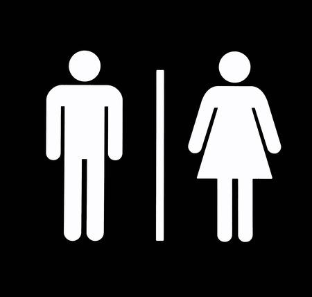 simbolo uomo donna: Unisex bagno  Restroom simbolo, nero su bianco, di sfondo