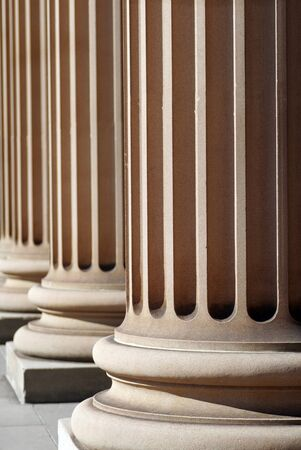 sandstone: Classical Sandstone Columns In A Row, Pillars, Architecture