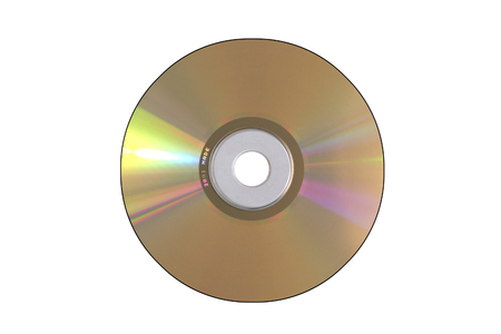 device disc: Golden Audio CD With Light Reflections On A White Background Stock Photo
