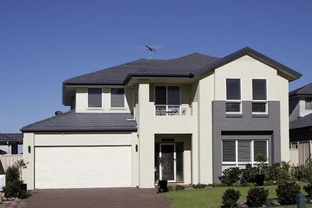 row: Modern Town House In A Sydney Suburb On A Summer Day, Australia Stock Photo