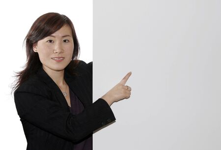 Business Woman Pointing On A Board, White Background photo