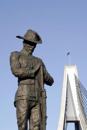 anzac: Soldier Statue, Anzac Bridge, Sydney, Australia Editorial