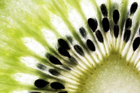 nourish: Close-Up Of The Centre Of A Slice Of Kiwi Fruit Stock Photo