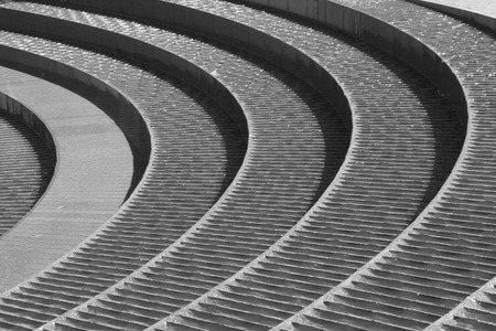Water Flow On Spiral Stair Fountain, Darling Harbour, Sydney, Black And White photo
