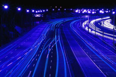 nightime: Highway At Night In Blue, Sydney, Australia