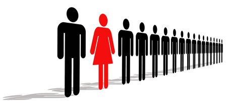 unification: Red Female Standing In A Line Of Black Men, Illustration, Background Stock Photo