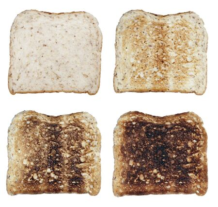 Four Toasts On A White Background, Fresh To Burnt Stock Photo - 1584278