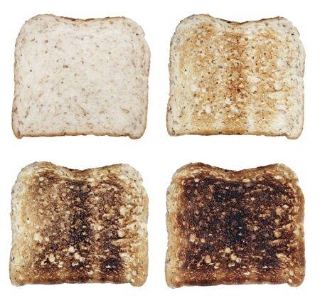 Four Toasts On A White Background, Fresh To Burnt photo