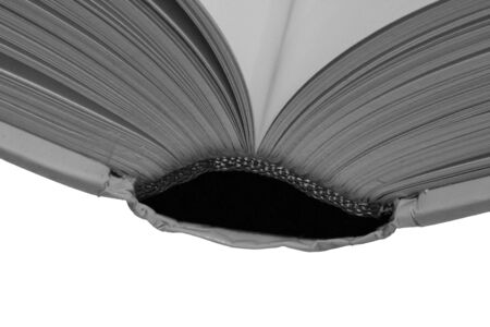 Thick Open Book, Blank Pages On A White Background, B&W Stock Photo - 1584271