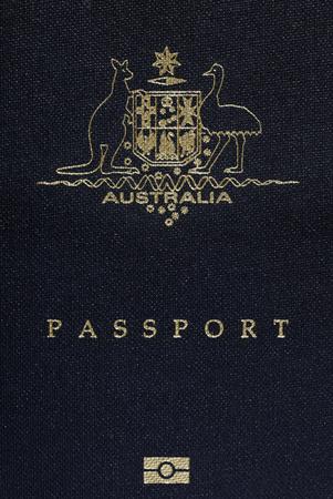 Australian Passport Cover Page, Australia Logo On A Blue Background photo