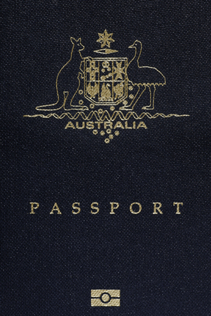 Australian Passport Cover Page, Australia Logo On A Blue Background