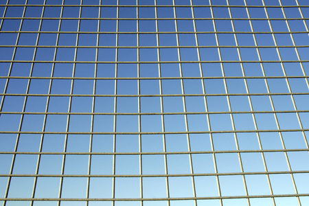 keepout: Fence In Front Of Blue Sky, Background Stock Photo