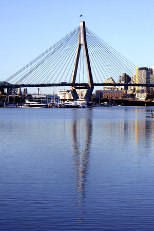 Anzac Bridge, Water Reflection, Sydney, Australia: ANZAC Bridge is the longest cable-stayed bridge in Australia, and amongst the longest in the world. Stock Photo - 1639558