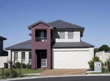 blue facades sky: Modern Town House In A Sydney Suburb On A Summer Day, Australia Stock Photo
