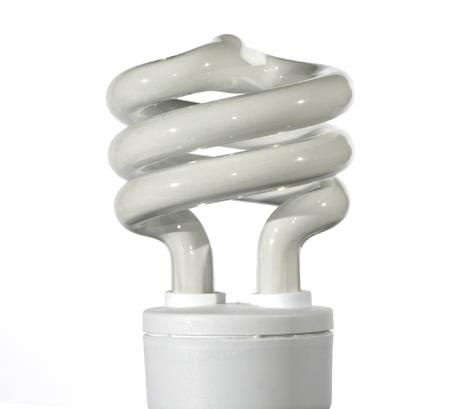 Spiral Energy Saving Light Bulb On A White Background photo