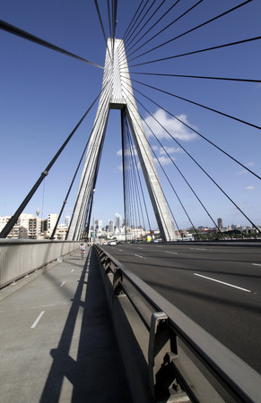 Anzac Bridge, Sydney, Australia: ANZAC Bridge is the longest cable-stayed bridge in Australia, and amongst the longest in the world. Stock Photo - 1656466
