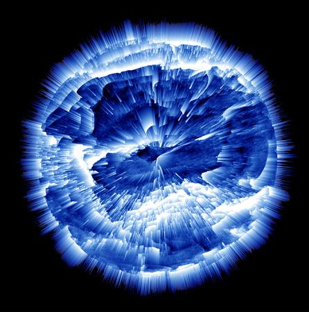 palla di fuoco: Exploding Planet, blu e bianco su sfondo nero Archivio Fotografico
