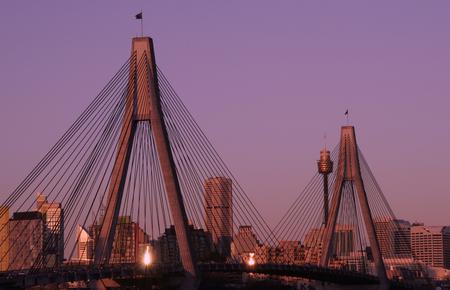 anzac: Anzac Bridge In Evening Light, Sydney, Australia: ANZAC Bridge is the longest cable-stayed bridge in Australia, and amongst the longest in the world.