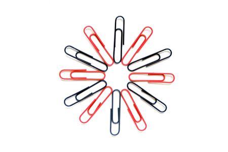Pop Art Paper Clip Flower In Red And Blue On A White Background photo