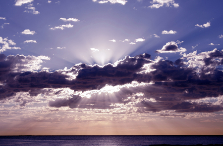 Pacific Sunrise, Sunrays in the Sky, Sydney, Australia photo