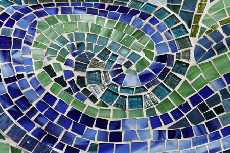 Round Colourful Mosaic Background Made Of Many Little Stones - Green, Blue Stock Photo - 1696626