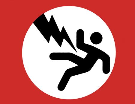 descarga electrica: Descargas el�ctricas se�al de advertencia - hombre negro, rojo Boarder, fondo blanco  Foto de archivo